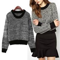 NEW Women's Trendy Splice Crew Neck Mixed Color Knit Short Jumper Pullover Knitwear Sweater Coat Tops 2014
