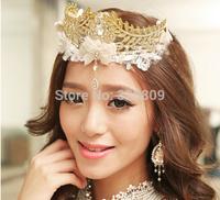 New style Princess crystal lace tiaras Fashion wedding bridal tiara Queen gold diadem wedding dress rhinestone crown  jewelry