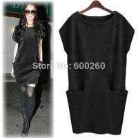 New 2014 Autumn Winter Hot Sale Women's Sweater Dress Casual Pocket Jersey Dresses For Women free shipping
