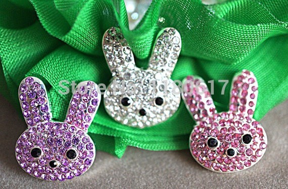 Easter Bunny Shaped Metal Rabbit Rhinestone Buttons - Metal Shank Back - Rhinestones 21mm Christmas Craft Embellishment(China (Mainland))