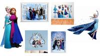Hot Selling cartoon frozen wall sticker Elsa sisters princess Vinyl Wall stickers for Kids room 3D home decoration wall Sticker