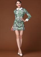 New 2014 Women Fashion Vintage Long Sleeve Blue And White Porcelain Print Lady Mini Dress Celebrity Dresses For Women WD8302