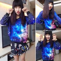 Harajuku plus size women's clothing star style fashion o-neck pullover sweatshirts long-sleeve baseball hoodies free shipping
