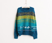 Autumn/Winter women fashion thick gradient color loose sweater