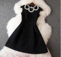 2014 New Brand Sleeveless Desigual Jacquard Printing Women Dress Autumn Winter Collar Beading Slim Dress Celebrity Dresses T2082