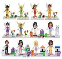 JLB LELE 78043 12pcs/lot Girls Fairies Tinker Bell Friends minifigures block toys Girls Friends Princess building block