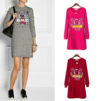 2014 fashion autumn spring winter dressesTiger Head Embroider Women Long Sleeve warm Fleece Lined Pullover Pocket Dress vestido