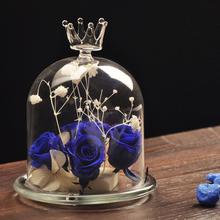 zaka2021 1pc Creative Fashion Beautiful Crystal Crown Glass Cover Flower Vase Home Wedding Decor(China (Mainland))