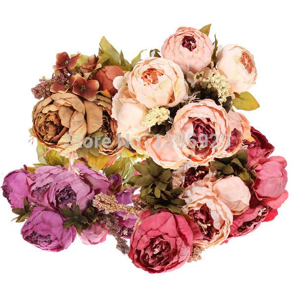 8 Haeds1 Bouquet Peony Artificial Silk Flower Home Party Wedding Garden Decoration(China (Mainland))