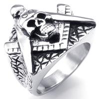 New Casting 316L Stainless Steel Freemasonry Freemasons Symbol Skull Skeleton Ring SZ#7-16 ,Free and Accepted Masons