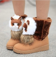 Free shipping 2014 new autumn and winter fashion wild new round flat snow boot for women