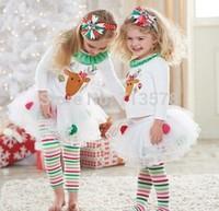 Baby Girl red Christmas Dress New 2014 Girl's Short Sleeve Merry Christmas Dress Kids Cotton Dot Casual party Tutu Dress retail