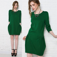 2014 Autumn Winter European Style Bud Dress Plus Size Half Sleeve Knitted Dress Mid Waist Casual Dress 3069# S-4XL