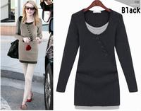 2014 Plus Size Cotton Spinning Long-sleeved Pullover  Fake Two Piece long-sleeve mini dress winte vestidos de festa S,M,L,XL