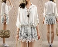 Autumn new arrival women's sweet lace black shirt casual plus size bourette loose long-sleeve white blouses female 1067