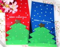 Lovely Self-adhesive Plastic Elongated Biscuit Bags 100pcs/lot Dot Christmas Tree Print Opp Bag For Snack Package gi871679