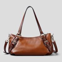 2015 hot sale  Top New Arrival Shoulder Bags Silt Pocket Women Handbags 100% Genuine Leather Handmade Handbag Cowhide Bag