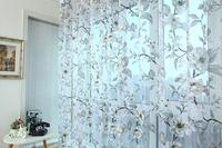 Fashion home curtain yarn grey flowers design window screening sheer translucidus tulle for living room