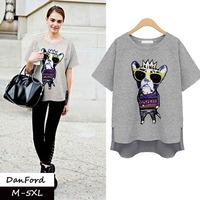 2014 New Brand  Women Plus Size Short Sleeve T Shirt Fashion Cotton Print Cat King  Blouse for Women M-5XL DFT-015