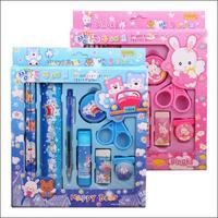 10Set/Lot Wholesale 9 in 1 Student kids Cut Stationery kit Pupils Gift Boxes Children Pencil Box Set T008