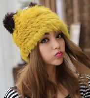 Christmas Winter Warm Fashion Woman Bomber Hats.Lady 100% Rabbit Fur Hat  Girls Cat Russian Snow Skullies Caps Freesize  Whosale