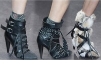 2014 Winter Latest Gladiator Ankle Belt Boots Brown/Green/Grey/Black pointed toe high heels Brand Booties size 10
