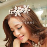 Newest Fashion flower pearl princess hair bands silver tiaras wedding bridal diadem wedding dress rhinestone crown jewelry