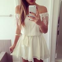 2015 summer new fashion off shoulder lace chiffon dress casual vestido lise white