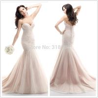 New Design vintage wedding dresses Mermaid Wedding Dresses 2015 Tulle Lace Wedding dress appliques bridal gown VESTIDO DE NOIVA