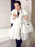 New 2014 winter women fashion white black duck down puffer coat high-neck asymmetric zipper pockets brand long warm outerwear