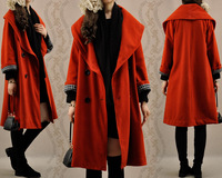 New arrival autumn and winter women vintage elegant big lapel double breasted long loose overcoat female thicken outerwear 1054