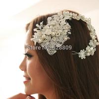 New designer handmade pearl crystal headdress flower tiaras bridal wedding dress rhinestone crown jewelry wholesale