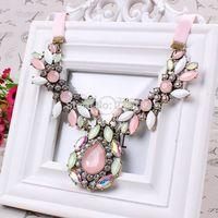 Paris Fashion Show 2014 Fluorescent Powder Popular Luxury Imitation Precious and Rhinestone Opal wholesale necklaces MD016