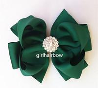 "Factory Direct Rhinestone 5"" double layered hair bow School Hair Bow YM-B068-17"