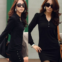 2014 New Winter Dress Women Causal V-Neck Long Sleeve Evening Party Mini Bag Hip Work Dresses hot sales free shipping