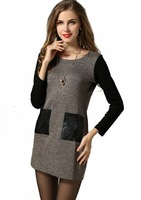 6XL Plus Size Fall Winter Warm Women Clothing Long Sleeve Slim Fit Patchwork Leather Pockets Knitted Dress New 2014