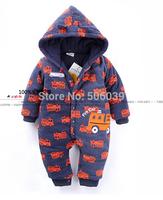 Retail winter leotard  clothes  newborn thick cartoon car jumpsuit  baby romper baby outwear overalls