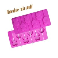Selling, Silicone six pairs of heart lollipop molds, baking cake mold, DIY chocolate mold, baking essential, kitchen utensils