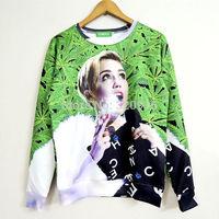 2014 New high quality fashion Women Men green leaf smoke Miley Print 3D Sweatshirts Hoodies Galaxy sweaters Tops Free shipping