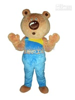 New arrival 2014 Adult lovely big nose little bear Mascot Costume fancy dress party costume adult size