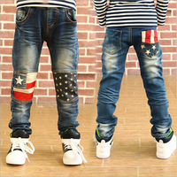 Autumn new arrival Cool Children clothing Design Stylish knee five-star Boys Jeans high quality Kids Jeans Trousers Pants P62
