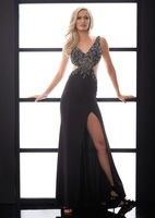 Sexy V-neck Backless with Spaghetti Strap Leaf Shape Beading Cheap Evening Dress Vestidos Evening Dresses Formal Party Dresses