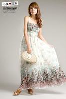 New Fast shipping 2014 Fashion bohemia expansion bottom full dress spaghetti strap bra chiffon long free size maxi dresses