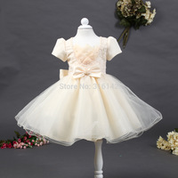 2014 New girl Children dresses  lotus flower embroidery short dress girl baby kids dresses wholesale 6pcs/lot free shipping
