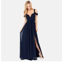 2014 New Fashion Women's Greek style Long Section Elegant Chiffon Folds Deep V-neck Luxury Sexy Maxi Dress A4886