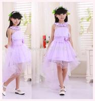Promotion Retail purple lace flower Trailing dress girl kids wedding Beautiful princess dress  free shipping TY-L8
