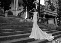 New Design  2015 Best quality fast delivery  beaded lace sleeveless V-neck mermaid wedding dress VESTIDO DE NOIVA