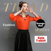 Free shipping spring fall women fashion best chiffon shirt  T - shirt  black / white / orange red 04730