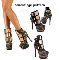 charming leather platform high heel ankle boots metal decoration buckled booties fashion women shoes