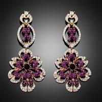 Fashion 2014 new purple rhinestone chandelier long drop earrings  imitation diamond jewelry brincos ouro